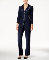 Le Suit Piped-Trim Pantsuit