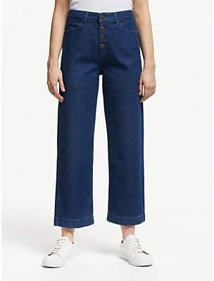 Lee Wide Leg High Waist Cropped Jeans, Dark Wilma