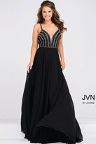 Jovani Beaded Plunging Neck Bodice Chiffon Dress JVN48495