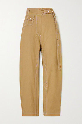 Low Classic Topstitched Cotton Tapered Pants - Neutral