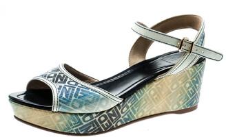 Fendi Multicolor Printed Canvas And Leather Trim Platform Wedge Sandals Size 41
