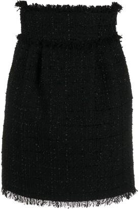 MSGM High Waisted Fringed Skirt