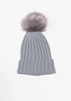 Missy Empire Karla Grey Ribbed Pom Beanie