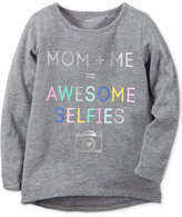 Carter's Mom + Me = Awesome Selfies Graphic-Print Long-Sleeve Cotton T-Shirt, Toddler Girls (2T-4T)