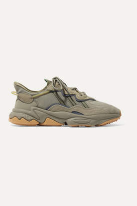 adidas Ozweego Suede And Neoprene-trimmed Nubuck Sneakers - Army green
