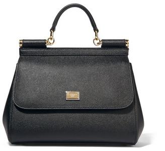 Dolce & Gabbana Sicily Medium Textured-leather Tote - Black