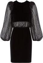 Isa Arfen Black Velvet Tulle Panel Dress