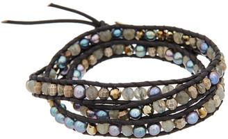 Chan Luu Silver Labradorite, 4Mm Pearl, Crystal, & Leather Wrap Bracelet
