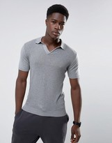 MANGO Man Muscle Fit Knitted Polo With Revere Collar In Grey