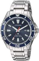 Citizen Men's 'Eco-Drive' Quartz Stainless Steel Diving Watch, Color:-Toned (Model: BN0191-55L)