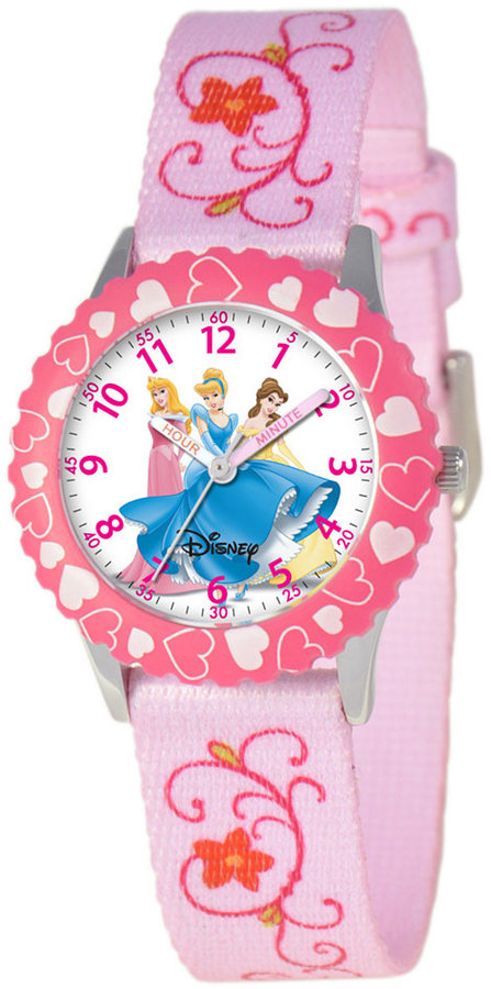 Disney Watch, Kid's Princess Time Teacher Printed Nylon Strap 31mm W000049