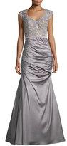 La Femme Cap-Sleeve Lace & Satin Mermaid Dress