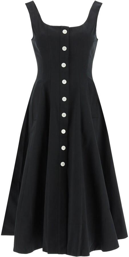 STAUD LORETTA MIDI DRESS 2 Black Cotton