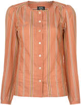 A.P.C. striped colarless shirt