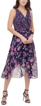 DKNY Floral-Print Faux-Wrap Chiffon Dress