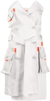 Heron Preston Strapless Trench Coat Dress