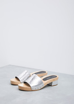 Proenza Schouler metallic silver simple slide wedge sandal