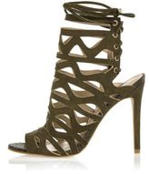 River Island Womens Khaki suede caged sandals