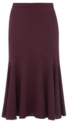 Goat Inga Fluted Hem Wool Crepe Midi Skirt - Womens - Burgundy