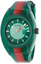 Gucci Transparent Nylon & Striped Rubber Strap Watch/Green