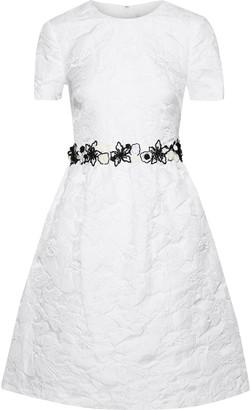 Mikael Aghal Flared Embellished Brocade Dress