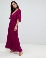 Asos DESIGN flutter sleeve maxi dress with pleat skirt