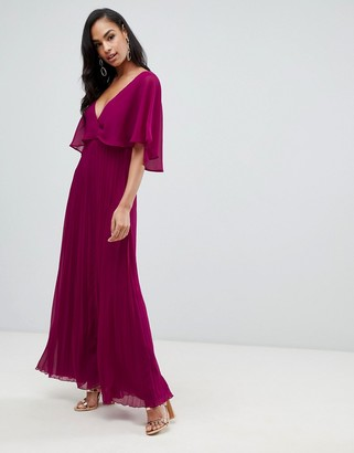 ASOS DESIGN flutter sleeve maxi dress with pleat skirt