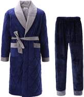 LVAGEFQPYBQOS Men's flannel thicken pajama set [winter] Youth Quilte Bath robe Housecoat Sleepwear - XXXL