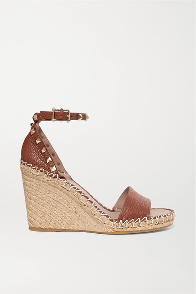 Valentino Rockstud 105 Textured-leather Espadrille Wedge Sandals