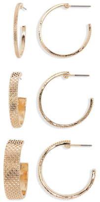 BP 3-Pack Textured Geo Hoop Earrings