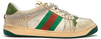 Gucci Screener Crystal Embellished Leather Trainers - Mens - White Multi