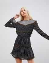 Maison Scotch Mixed Print Long Sleeved Dress