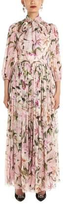 Dolce & Gabbana Floral Print Pussy Bow Maxi Dress