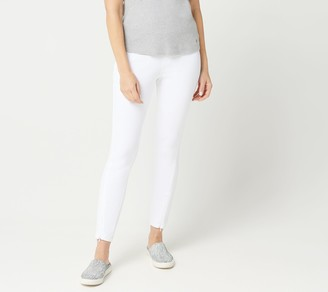 Halston H By H by Petite Knit Denim Ankle Pants with Zipper Detail