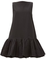 Valentino Ruffled-hem Cotton-blend Micro-faille Mini Dress - Womens - Black