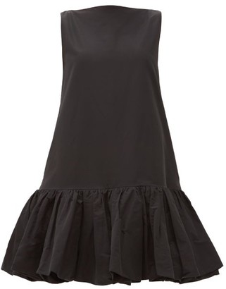 Valentino Ruffled-hem Cotton-blend Micro-faille Mini Dress - Black