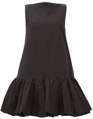 Valentino Ruffled-hem Cotton-blend Micro-faille Mini Dress - Black