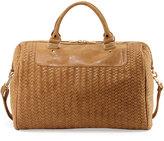 Neiman Marcus Distressed Woven Weekender Bag, Sand