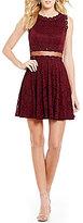 Jodi Kristopher Embellished Lace Illusion Waist Skater Dress
