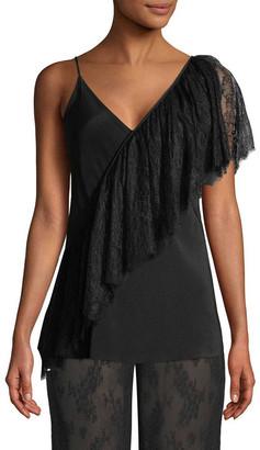 Diane von Furstenberg Asymmetric Ruffle Lace Camisole