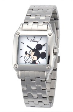 EWatchFactory Disney Mickey Mouse Women's Silver Square Steel Watch