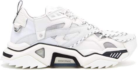 Calvin Klein Strike 205 Suede And Mesh Trainers - Mens - White