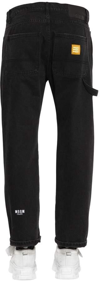 MSGM Wide Leg Embroidered Denim Jeans