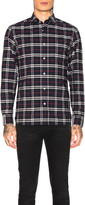 Burberry George Small Scale Checkered Flannel in Navy   FWRD