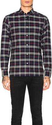 Burberry George Small Scale Checkered Flannel in Navy | FWRD