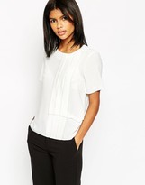 ASOS COLLECTION ASOS Short Sleeve Top With Pleat Tuck Detail