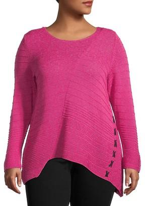 Nic+Zoe Plus Asymmetric Cotton-Blend Sweater