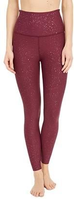 Beyond Yoga Alloy Sparkle High Waisted Midi Leggings (Team Burgundy Gunmetal Sparkle) Women's Casual Pants