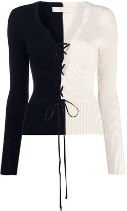 Ssheena Two Tone Lace-Up Cardigan