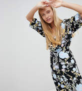 Monki Dark Floral Long Sleeve Wrap Dress